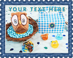 Look Whoos 1 Blue Owl  Edible Birthday Cake Topper OR Cupcake Topper, Decor