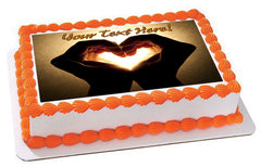 Hands with heart image - Edible Cake Topper, Cupcake Toppers, Strips