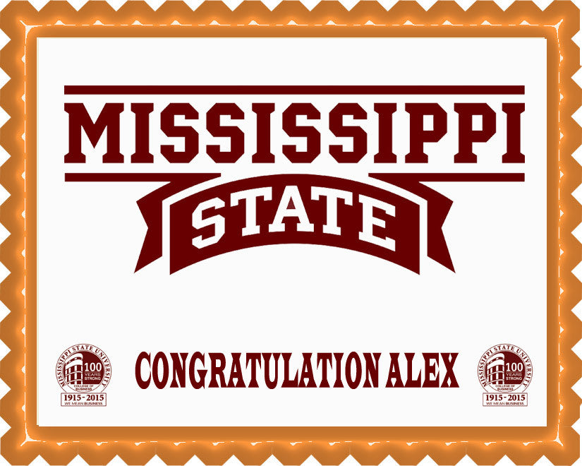 Mississippi State University Edible Birthday Cake Topper OR Cupcake Topper, Decor - Edible Prints On Cake (Edible Cake &Cupcake Topper)