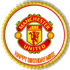 Manchester United Edible Birthday Cake Topper OR Cupcake Topper, Decor