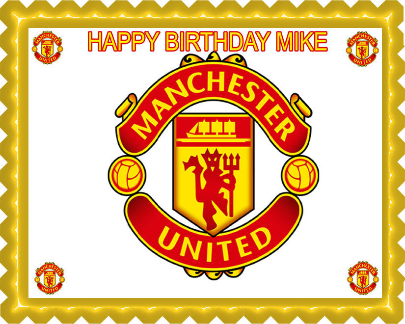 Manchester United Edible Birthday Cake Topper OR Cupcake Topper, Decor - Edible Prints On Cake (Edible Cake &Cupcake Topper)