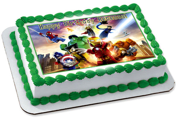 Lego Marvel 2 Edible Birthday Cake Topper OR Cupcake Topper, Decor - Edible Prints On Cake (Edible Cake &Cupcake Topper)