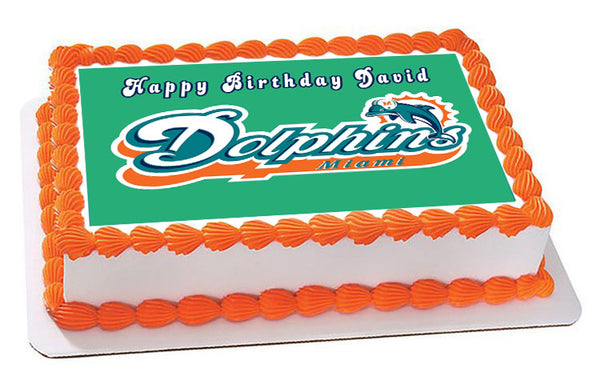 Miami Dolphins Edible Cake Topper And Cupcake Topper
