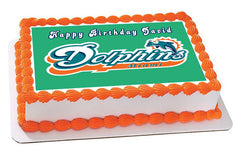 Miami Dolphins Edible Birthday Cake Topper OR Cupcake Topper, Decor - Edible Prints On Cake (Edible Cake &Cupcake Topper)