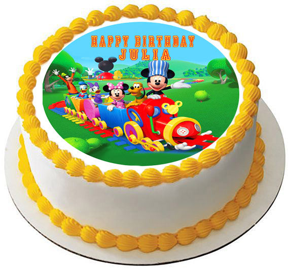 Edible Cake Images Review : Mickey Mouse Clubhouse Train Edible Cake Topper & Cupcake ...