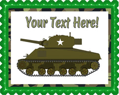 Military Sherman Tank - Edible Cake Topper, Cupcake Toppers, Strips