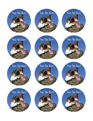 Military Man Hugs His Child - Edible Cake Topper, Cupcake Toppers, Strips