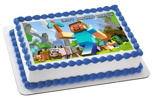 Minecraft Characters 1 Edible Birthday Cake Topper Or Cupcake Decor Prints On