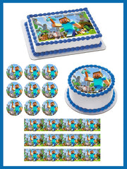 MINECRAFT Characters 1 Edible Birthday Cake Topper OR Cupcake Topper, Decor - Edible Prints On Cake (Edible Cake &Cupcake Topper)