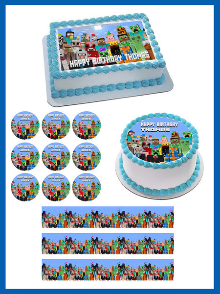 Minecraft Characters 5 Edible Cake Topper Or Cupcake