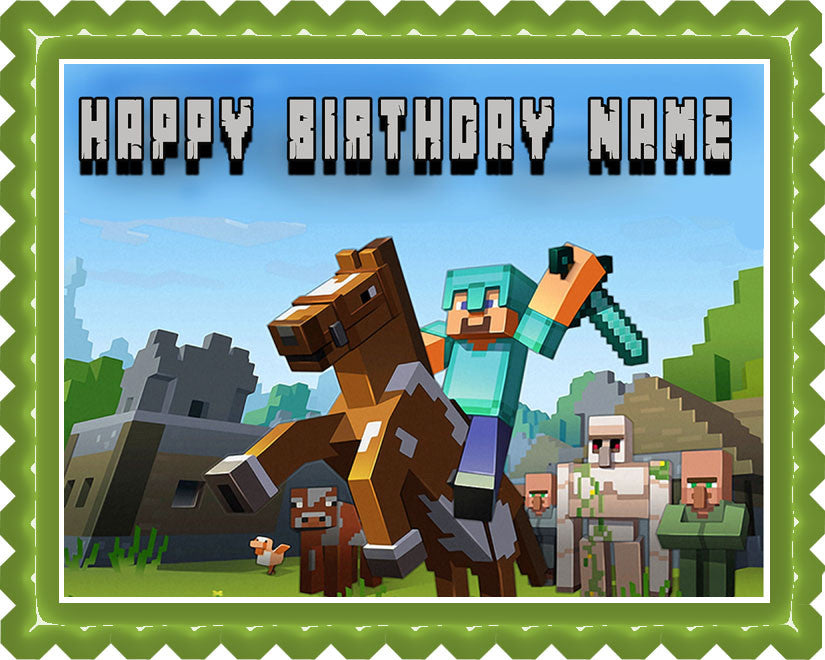 MINECRAFT Characters 6 Edible Birthday Cake Topper OR Cupcake Topper, Decor