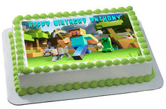 MINECRAFT Characters 2 Edible Birthday Cake Topper OR Cupcake Topper, Decor - Edible Prints On Cake (Edible Cake &Cupcake Topper)