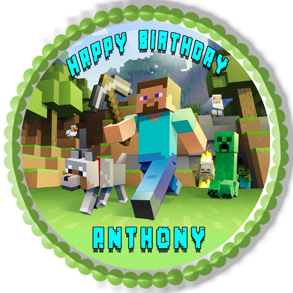 Minecraft Characters 2 Edible Birthday Cake Or Cupcake