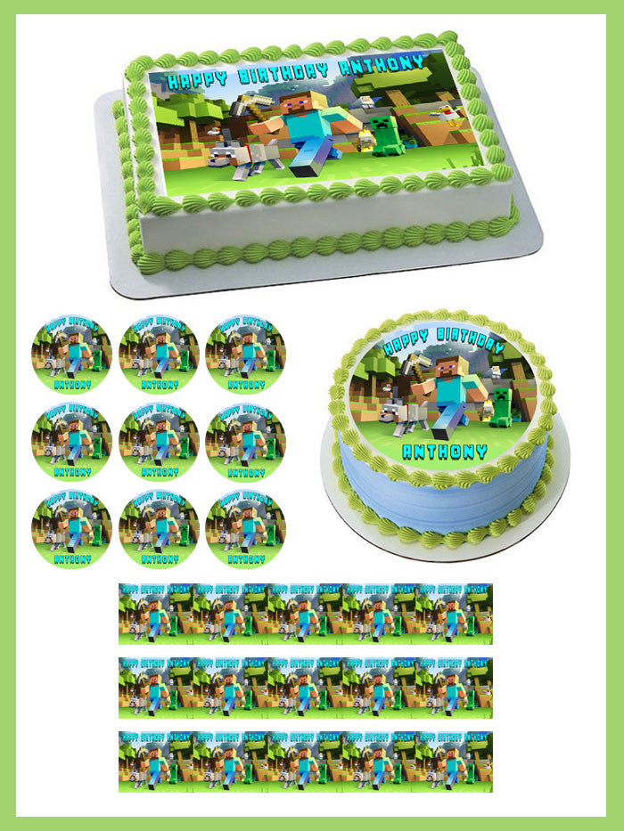 MINECRAFT Characters 2 Edible Birthday Cake Topper OR Cupcake Topper, Decor