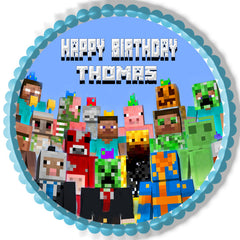 MINECRAFT Characters 5 Edible Birthday Cake Topper OR Cupcake Topper, Decor - Edible Prints On Cake (Edible Cake &Cupcake Topper)