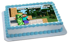 Minecraft Creeper Steve Edible Birthday Cake Topper OR Cupcake Topper, Decor - Edible Prints On Cake (Edible Cake &Cupcake Topper)