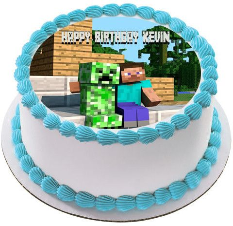 Minecraft Creeper Steve Edible Cake Topper Edible Prints On Cake