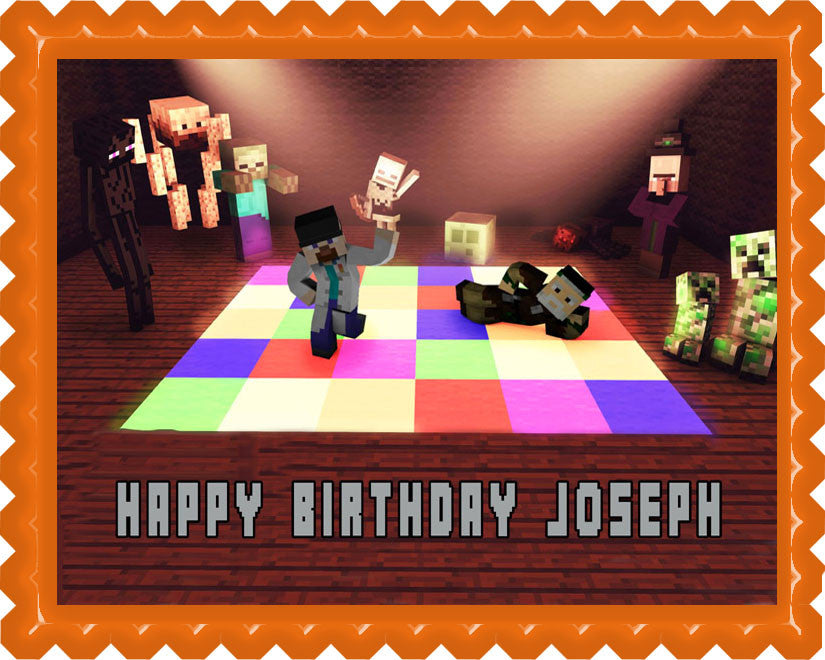 Minecraft Disco Edible Birthday Cake Topper OR Cupcake Topper, Decor