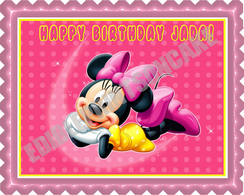 Minnie Mouse Edible Birthday Cake OR Cupcake Topper Edible Prints