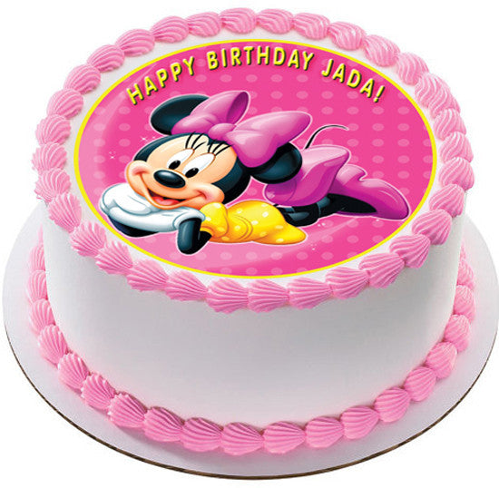 Minnie Mouse Edible Birthday Cake OR Cupcake Topper