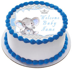 Mocsicka Boy Elephant Baby Shower - Edible Cake Topper, Cupcake Toppers, Strips
