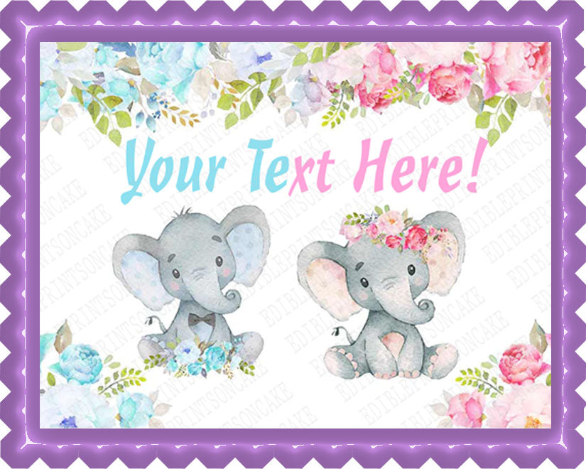 Mocsicka Elephant Gender Reveal Baby Shower - Edible Cake Topper, Cupcake Toppers, Strips