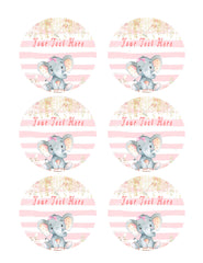 Mocsicka Girl Elephant Baby Shower - Edible Cake Topper, Cupcake Toppers, Strips