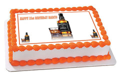 Whiskey Bottle Edible Birthday Cake Topper OR Cupcake Topper, Decor - Edible Prints On Cake (Edible Cake &Cupcake Topper)