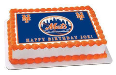 New York NY Mets Edible Birthday Cake Topper OR Cupcake Topper, Decor - Edible Prints On Cake (Edible Cake &Cupcake Topper)
