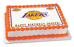 Los Angeles LA Lakers Edible Birthday Cake Topper OR Cupcake Topper, Decor - Edible Prints On Cake (Edible Cake &Cupcake Topper)