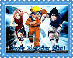 NARUTO 3 Edible Birthday Cake Topper OR Cupcake Topper, Decor
