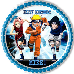 Naruto 3 edible birthday cake or cupcake topper edible for Anime beyblade cake topper decoration set
