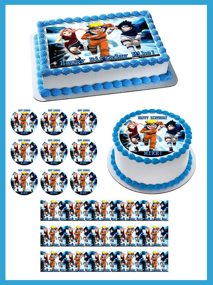 Phenomenal Naruto 3 Edible Birthday Cake Or Cupcake Topper Edible Prints On Funny Birthday Cards Online Inifodamsfinfo