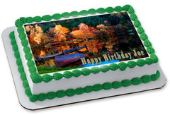 Natur - Autumn Edible Birthday Cake Topper OR Cupcake Topper, Decor - Edible Prints On Cake (Edible Cake &Cupcake Topper)