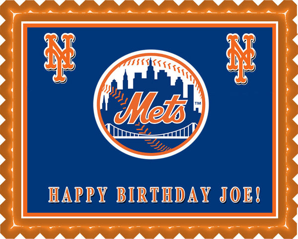 New York Mets Edible Birthday Cake Or Cupcake Topper