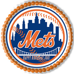New York Mets Edible Birthday Cake Topper OR Cupcake Topper, Decor