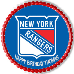 New York Rangers Edible Birthday Cake Topper OR Cupcake Topper, Decor - Edible Prints On Cake (Edible Cake &Cupcake Topper)