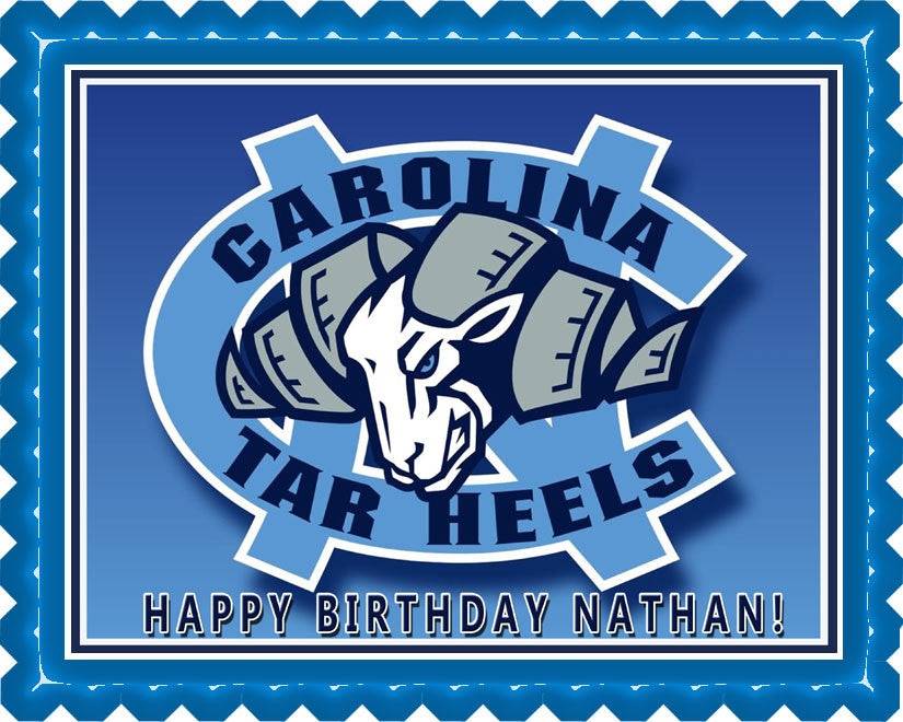 North Carolina Tar Heels Edible Birthday Cake Topper OR Cupcake Topper, Decor