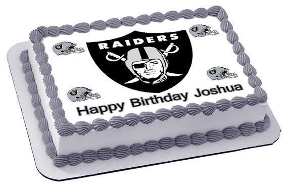 Oakland Raiders Edible Cake Topper Or Cupcake Toppers Edible Prints On Cake Epoc