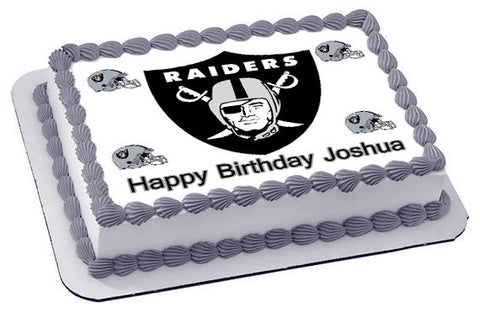 Oakland Raiders Edible Cake Topper OR Cupcake Topper