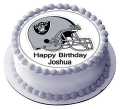 Oakland Raiders Edible Birthday Cake Topper OR Cupcake Topper, Decor - Edible Prints On Cake (Edible Cake &Cupcake Topper)