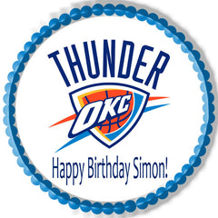 Oklahoma City Thunder Edible Birthday Cake Topper OR Cupcake Topper, Decor - Edible Prints On Cake (Edible Cake &Cupcake Topper)