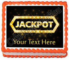 Jackpot gold casino lotto label - Edible Cake Topper, Cupcake Toppers, Strips