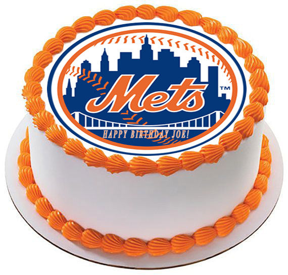 New York NY Mets Edible Birthday Cake OR Cupcake Topper