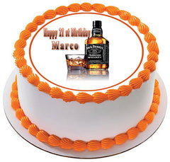 Whiskey Bottle Edible Birthday Cake Topper OR Cupcake Topper, Decor