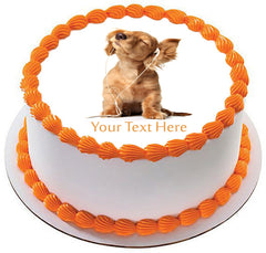 Young puppy listening to music - Edible Cake Topper, Cupcake Toppers, Strips