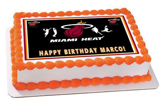 Miami Heat Edible Birthday Cake Or Cupcake Topper Edible