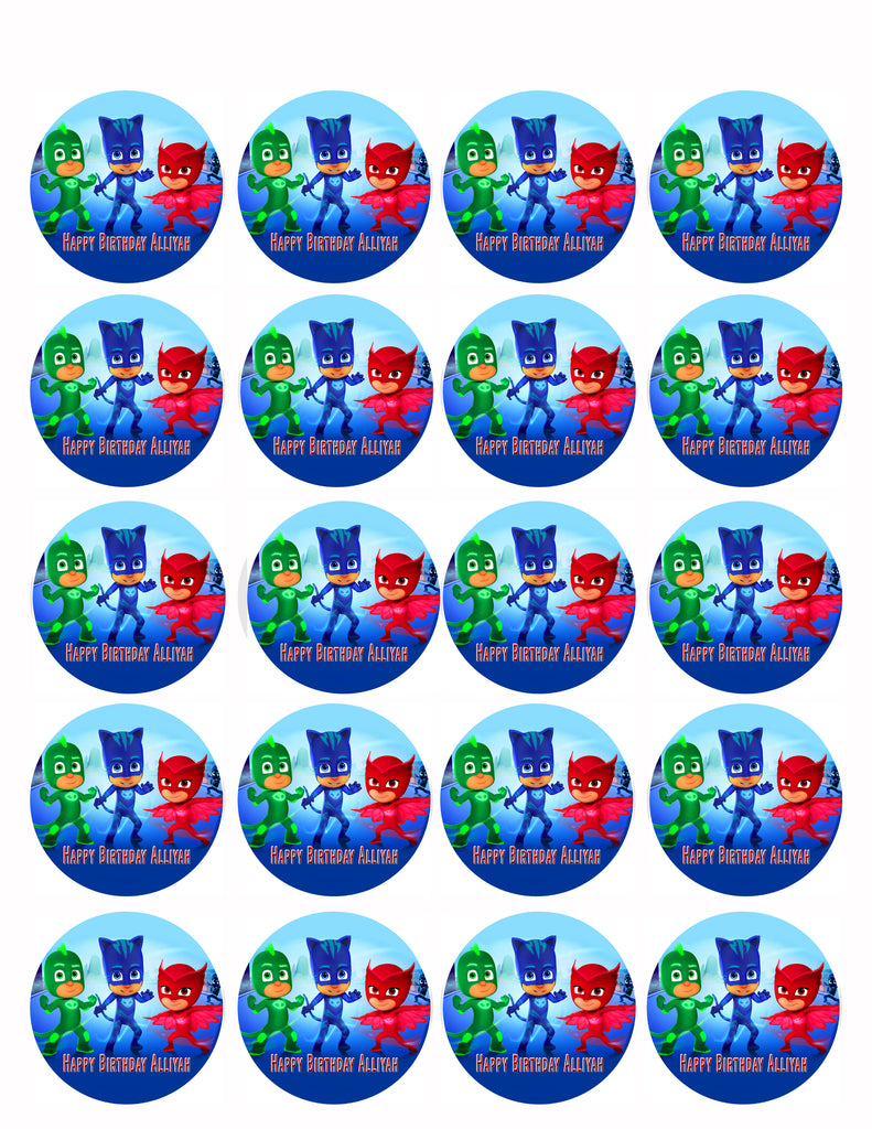 image relating to Free Printable Thomas the Train Cup Cake Toppers identify PJ MASKS (Nr1) - Edible Cake Topper or Cupcake Toppers