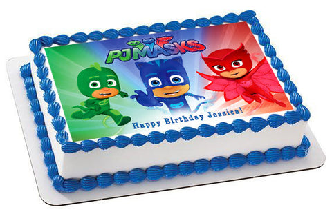 PJ MASKS (Nr3) - Edible Cake Topper OR Cupcake Topper, Decor