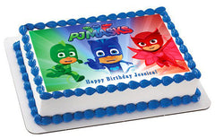 PJ MASKS 3 Edible Birthday Cake Topper OR Cupcake Topper, Decor - Edible Prints On Cake (Edible Cake &Cupcake Topper)